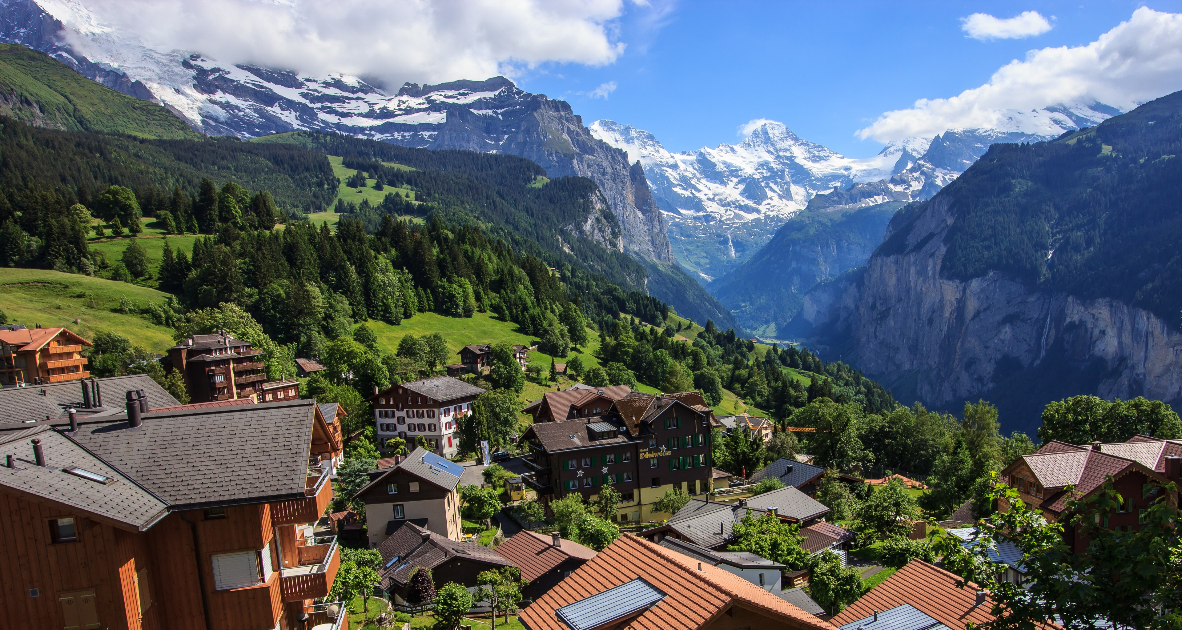 View of Jungfrau and the Lauterbrunnen Valley