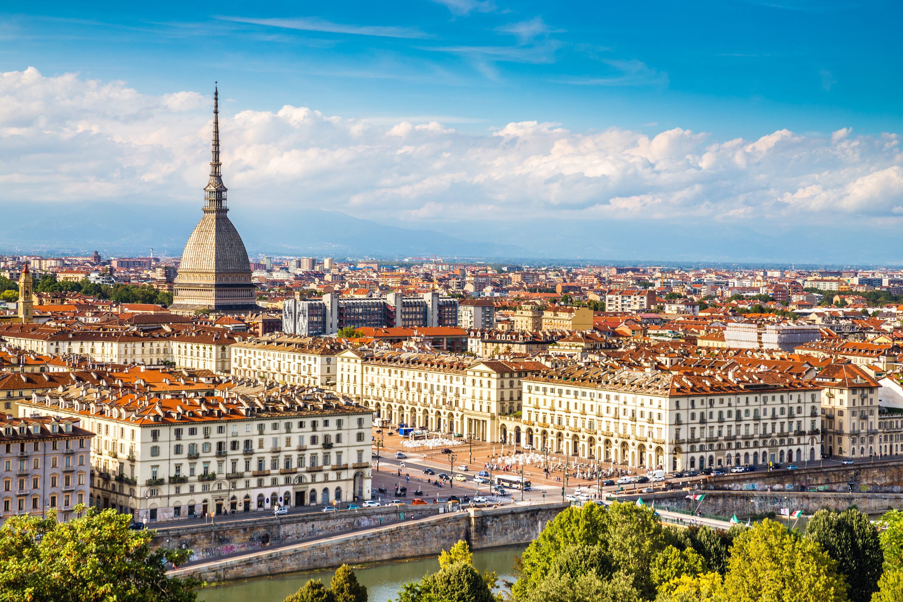 Turin City with Landmark of Mole Antonelliana